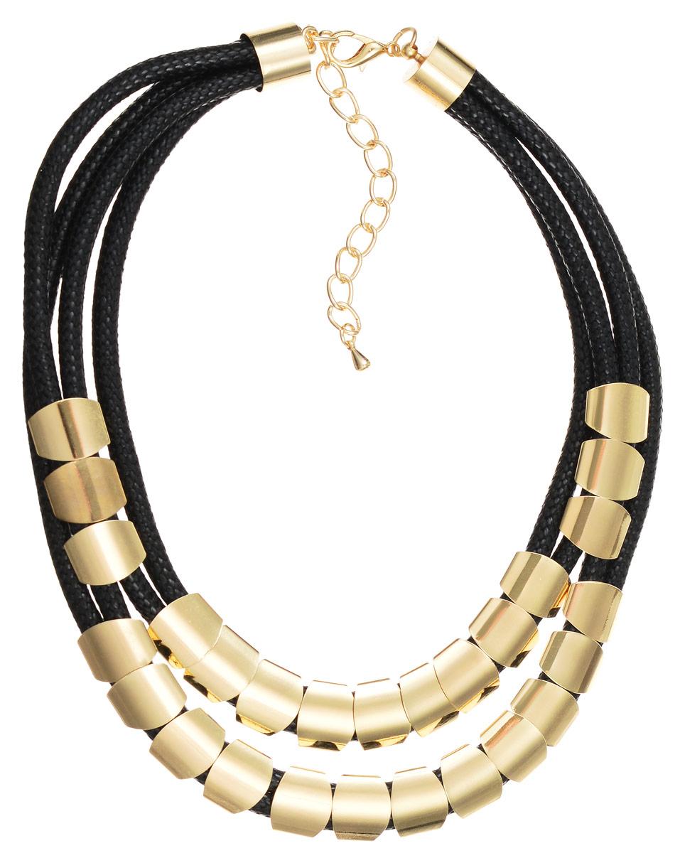 Колье Art-Silver, цвет: черный, золотой. 141114-8Black-975141114-8Black-975Оригинальное колье Art-Silver не оставит равнодушной ни одну любительницу изысканных и необычных украшений. Сочетание материалов, цвета и форм придает изделию изысканность и индивидуальность. Колье выполнено в виде четырех плетеных текстильных шнурков, декорированных оригинальными по форме элементами из бижутерного сплава с покрытием под золото. Изделие застегивается на практичный замок-карабин, длина колье регулируется с помощью специальной цепочки. Такое колье позволит вам с легкостью воплотить самую смелую фантазию и создать собственный неповторимый образ.