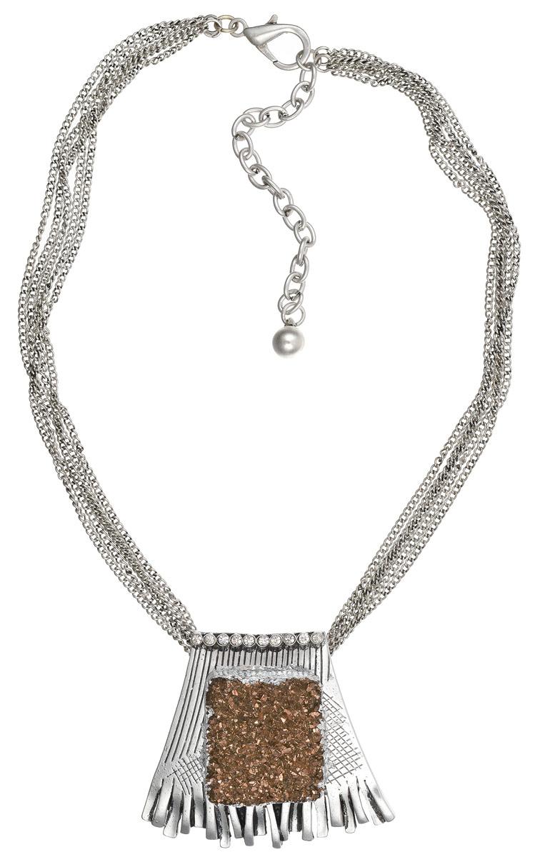 Колье Art-Silver, цвет: серебряный, золотой. 183752-1-639183752-1-639Оригинальное колье Art-Silver изготовлено из бижутерийного сплава и полимера. Центральная часть колье дополнена оригинальным декоративными элементом, который инкрустирован стразами. Колье застегивается на замок-карабин, длина изделия регулируется за счет дополнительных звеньев. В комплекте с украшением поставляется мешочек для хранения с фирменной символикой. Колье Art-Silver поможет дополнить любой образ и привнести в него завершающий штрих.