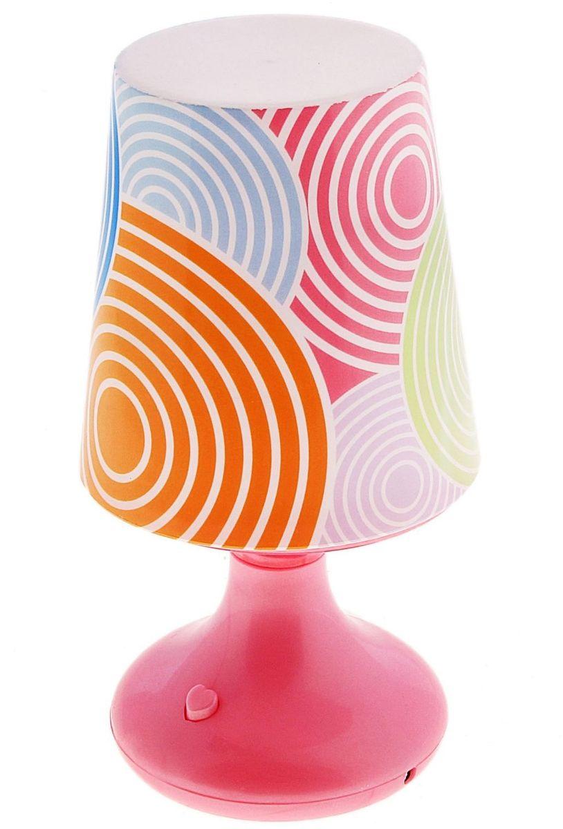 Лампа настольная Веселые узоры розовая ( 110815 )