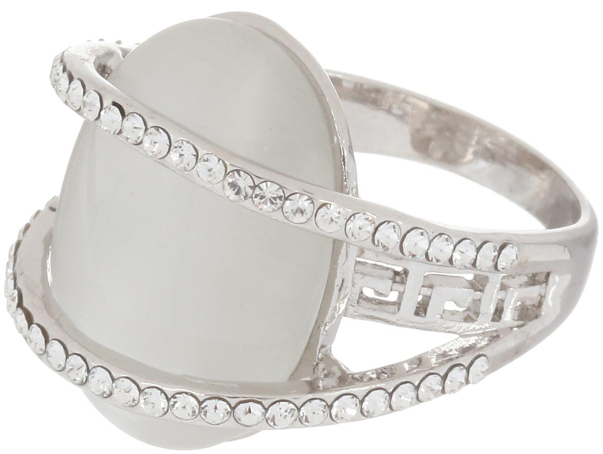 Кольцо Art-Silver, цвет: серебристый. V064984R-S-818. Размер 19V064984R-S-818Стильное кольцо Art-Silver изготовлено из бижутерного сплава. Изделие оформлено декоративной перфорацией и дополнено вставками из циркона и кошачьего глаза. Стильное кольцо придаст вашему образу изюминку и подчеркнет индивидуальность.