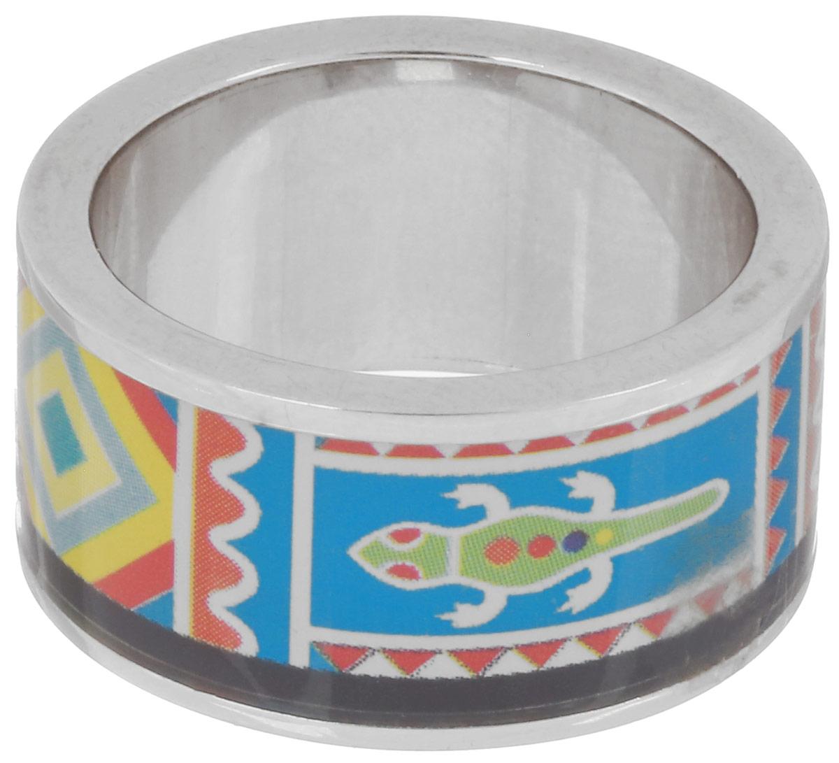 Кольцо Art-Silver, цвет: серебристый, голубой, мультиколор. ФК103-320. Размер 17,5ФК103-320Великолепное кольцо Art-Silver изготовлено из бижутерного сплава. Изделие с покрытием из эмали оформлено принтом в виде оригинального орнамента. Стильное кольцо придаст вашему образу изюминку и подчеркнет индивидуальность.