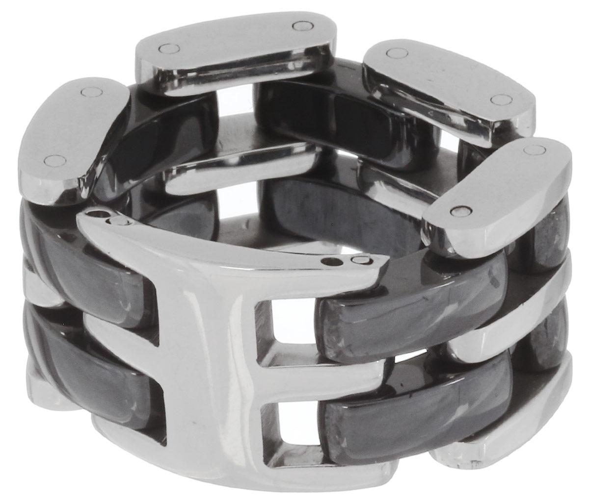 Кольцо Art-Silver, цвет: серебристый, черный. QD39B-783. Размер 17QD39B-783Стильное шарнирное кольцо Art-Silver изготовлено из керамики и стали. Модель оформлена оригинальным плетением. Стильное кольцо придаст вашему образу изюминку и подчеркнет индивидуальность.