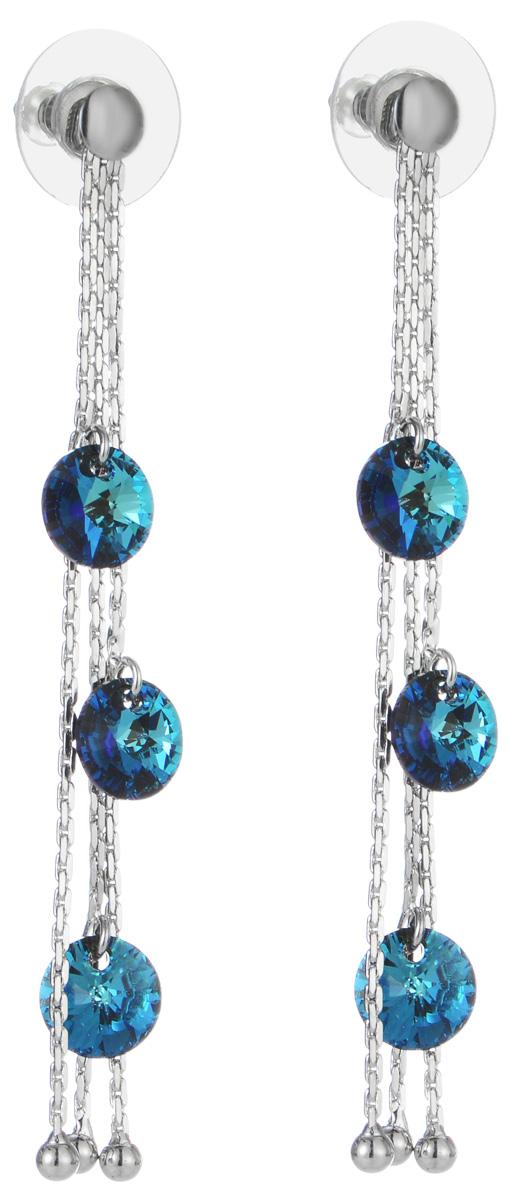 Серьги Art-Silver, цвет: серебряный, синий. 00886-88700886-887Оригинальные серьги Art-Silver выполнены из бижутерного сплава, с легкостью завершат ваш образ. В качестве основы украшения использован замок-гвоздик с фиксатором из металла и пластика. Серьги выполнены в виде трех цепочек, украшенных крупными элементами из кубического циркония синего цвета . Стильные серьги придадут вашему образу изюминку, подчеркнут красоту и изящество вечернего платья или преобразят повседневный наряд.