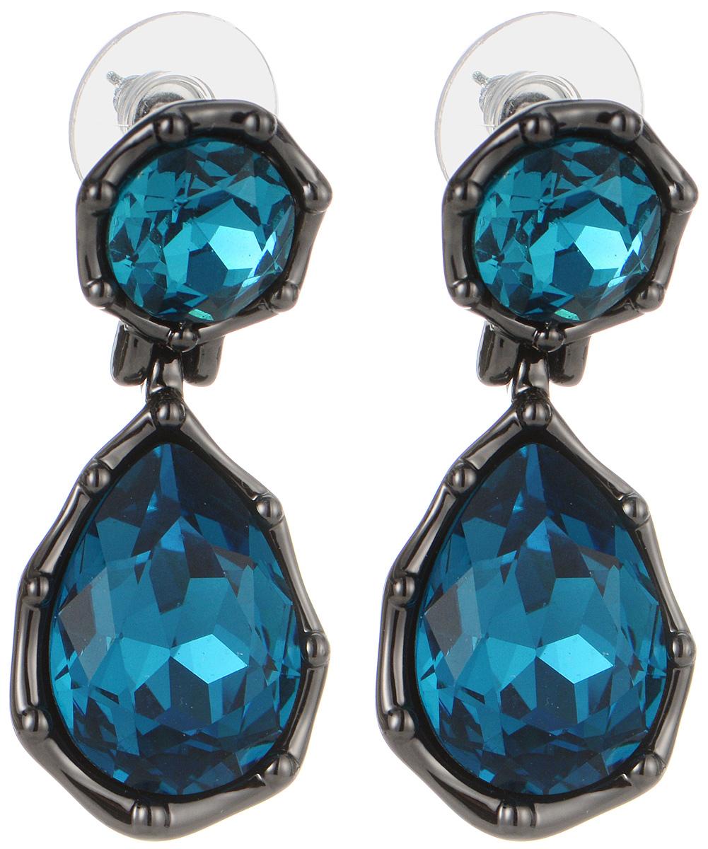 Серьги Art-Silver, цвет: черный, синий. 064683-004-1338064683-004-1338Оригинальные серьги Art-Silver выполнены из бижутерного сплава, с легкостью завершат ваш образ. В качестве основы украшения использован замок-гвоздик с фиксатором из металла и пластика. Серьги дополнены оригинальными подвесками с кристаллами синего цвета. Стильные серьги придадут вашему образу изюминку, подчеркнут красоту и изящество вечернего платья или преобразят повседневный наряд.