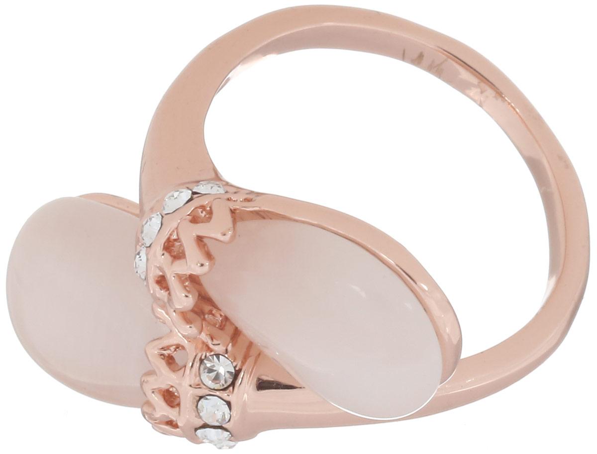 Кольцо Art-Silver, цвет: золотистый. V064194R-RG-473. Размер 18,5V064194R-RG-473Великолепное кольцо Art-Silver изготовлено из бижутерного сплава с золотистым покрытием. Изделие дополнено цирконами и натуральным камнем кошачий глаз. Стильное кольцо придаст вашему образу изюминку и подчеркнет индивидуальность.