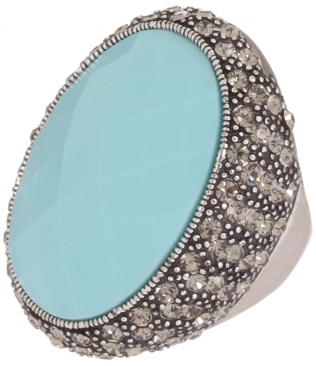 Кольцо Art-Silver, цвет: серебристый, голубой. V060871R-1418. Размер 17,5V060871R-1418Великолепное кольцо Art-Silver изготовлено из бижутерного сплава. Изделие оформлено цирконами. В центре кольца расположена ограненная вставка из пластика. Стильное кольцо придаст вашему образу изюминку и подчеркнет индивидуальность.