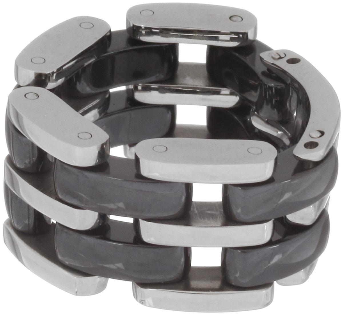 Кольцо Art-Silver, цвет: серебристый, черный. QD39B-783. Размер 22QD39B-783Стильное шарнирное кольцо Art-Silver изготовлено из керамики и стали. Модель оформлена оригинальным плетением. Стильное кольцо придаст вашему образу изюминку и подчеркнет индивидуальность.