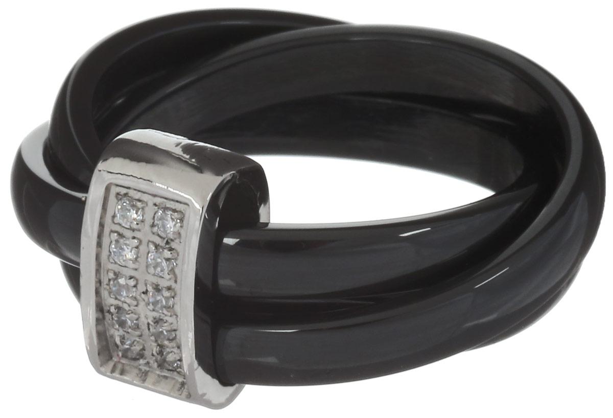 Кольцо Art-Silver, цвет: черный, серебристый. КЧ2039-821. Размер 18КЧ2039-821Стильное кольцо Art-Silver изготовлено из стали и керамики. Изделие выполнено в виде оригинального переплетения и дополнено вставкой из кубического циркония. Стильное кольцо придаст вашему образу изюминку и подчеркнет индивидуальность.