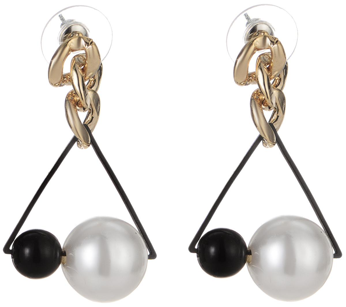 Серьги Art-Silver, цвет: золотой, черный, белый. СРГЗ34-359