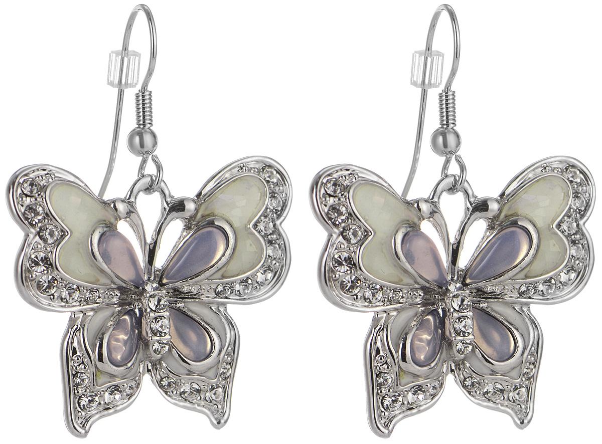 Серьги Art-Silver, цвет: серебряный, белый. MS05618E-R-A-1121MS05618E-R-A-1121Оригинальные серьги Art-Silver выполнены из бижутерного сплава, с легкостью завершат ваш образ. В качестве основы украшения использован итальянский замок-петля. Серьги дополнены объемными, подвижными подвесками в виде бабочки. Подвески дополнены перламутром, покрыты эмалью и инкрустированы кубическим цирконием. Стильные серьги придадут вашему образу изюминку, подчеркнут красоту и изящество вечернего платья или преобразят повседневный наряд.