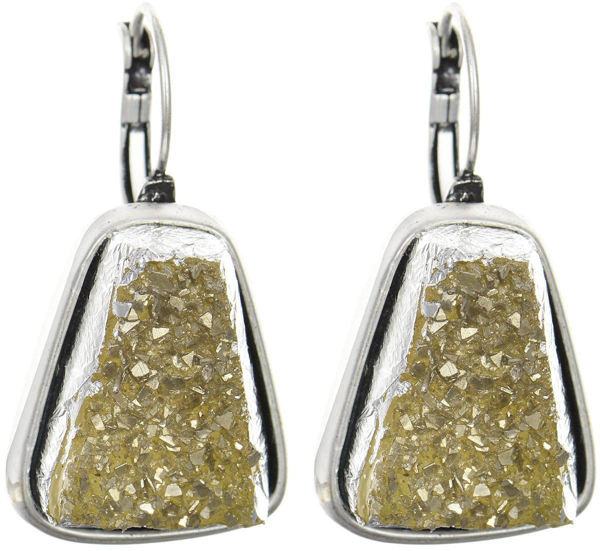 Серьги Art-Silver, цвет: серебряный, желтый. 182710-1-240182710-1-240Оригинальные серьги Art-Silver выполнены из бижутерного сплава. В качестве основы украшения использован замок-петля. Изделие оформлено оригинальной вставкой из полимера, имитирующей натуральный камень. Изысканные серьги станут модным аксессуаром для повседневного наряда, они подчеркнут вашу индивидуальность и неповторимый стиль и помогут создать незабываемый уникальный образ.