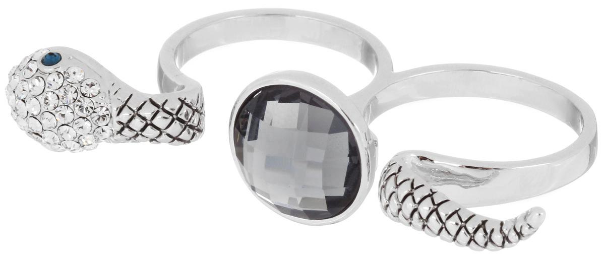 Кольцо на два пальца Art-Silver, цвет: серебристый. 02028-2-1067. Размер 1802028-2-1067Стильное кольцо на два пальца Art-Silver изготовлено из бижутерного сплава. Изделие надевается на два соседних пальца. Кольцо выполнено в виде змеи, которая как бы обивается вокруг пальцев. Изделие оформлено мелкими цирконами, а между пальцами крупным цирконом. Стильное кольцо придаст вашему образу изюминку и подчеркнет индивидуальность.