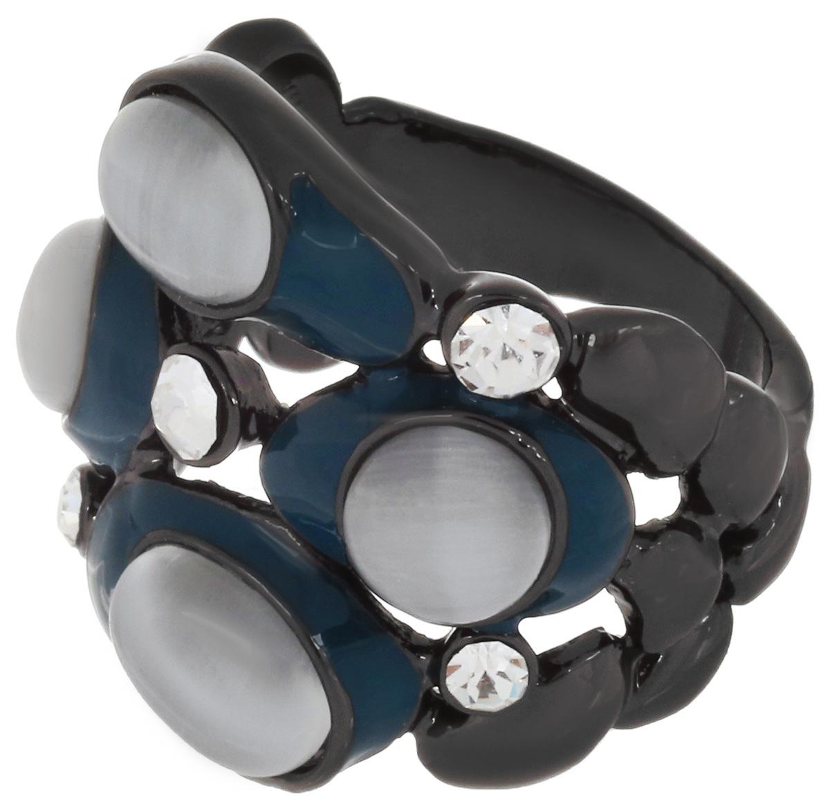 Кольцо Art-Silver, цвет: антрацитовый, серый, темно-бирюзовый. 066762-904-586. Размер 17,5066762-904-586Великолепное кольцо Art-Silver изготовлено из бижутерного сплава. Изделие дополнено цирконами, натуральными камнями кошачий глаз и вставками из эмали. Стильное кольцо придаст вашему образу изюминку и подчеркнет индивидуальность.