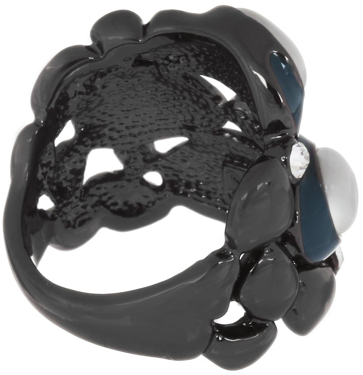 Кольцо Art-Silver, цвет: антрацитовый, серый, темно-бирюзовый. 066762-904-586. Размер 17, 5
