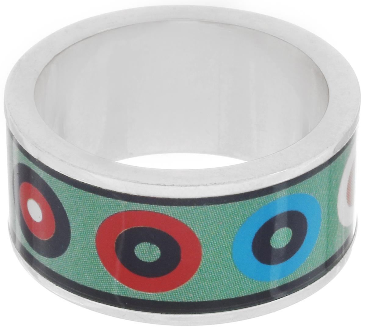Кольцо Art-Silver, цвет: серебристый, зеленый, мультиколор. ФК102-320. Размер 16,5ФК102-320Великолепное кольцо Art-Silver изготовлено из бижутерного сплава. Изделие с покрытием из эмали оформлено оригинальным геометрическим принтом. Стильное кольцо придаст вашему образу изюминку и подчеркнет индивидуальность.