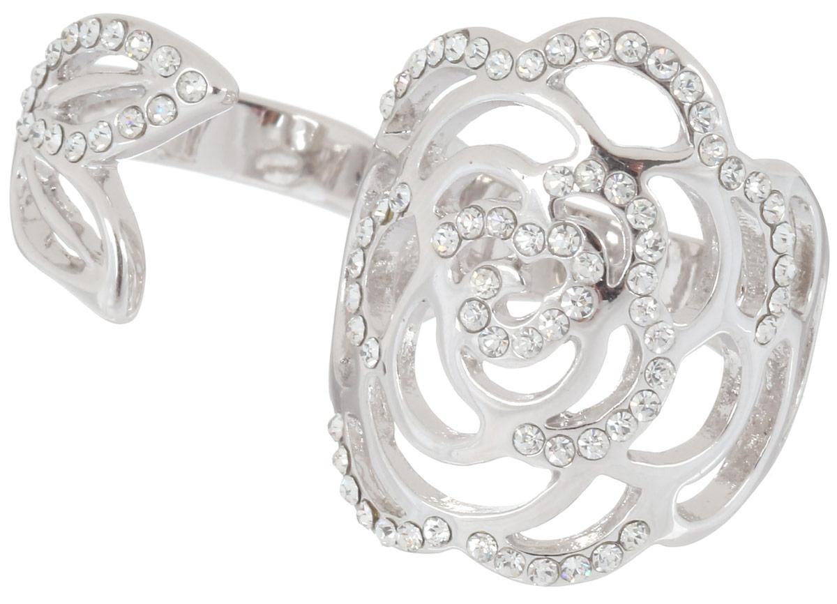 Кольцо на два пальца Art-Silver, цвет: серебристый. 068017-702-1143. Размер 17,5068017-702-1143Стильное кольцо на два пальца Art-Silver изготовлено из бижутерного сплава. Изделие надевается на два соседних пальца. Кольцо выполнено в цветка, которая листик которого как бы обвивается вокруг соседнего пальца. Изделие оформлено мелкими цирконами. Стильное кольцо придаст вашему образу изюминку и подчеркнет индивидуальность.