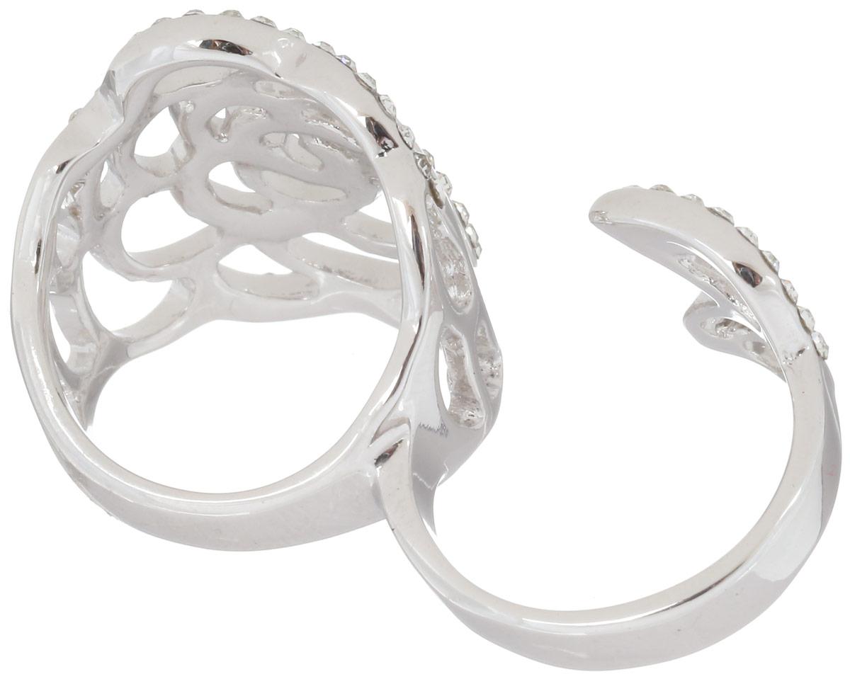 Кольцо на два пальца Art-Silver, цвет: серебристый. 068017-702-1143. Размер 19