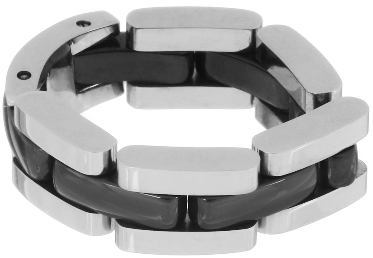 Кольцо Art-Silver, цвет: серебристый, черный. STS074-540. Размер 17,5STS074-540Стильное шарнирное кольцо Art-Silver изготовлено из керамики и стали. Модель оформлена оригинальным плетением. Стильное кольцо придаст вашему образу изюминку и подчеркнет индивидуальность.