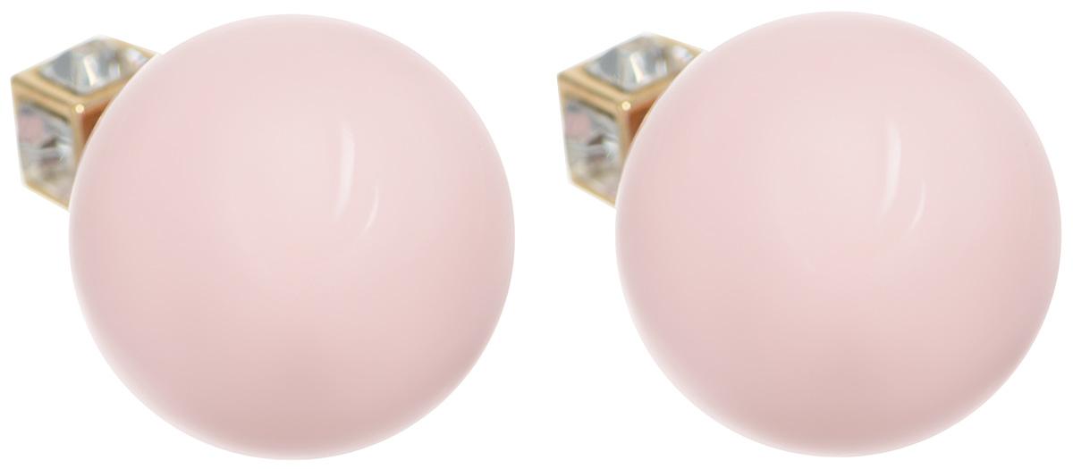 Серьги-шары Art-Silver, цвет: золотой, розовый. 29461-43629461-436Оригинальные серьги-шары Art-Silver изготовлены из бижутерного сплава с покрытием под золото. Изделие представляет собой серьги-пуссеты (гвоздики) круглой формы, выполненные из пластика. Основание украшения выполнено в форме куба и дополнено кубическим цирконием. Стильные серьги придадут вашему образу изюминку, подчеркнут красоту и изящество вечернего платья или преобразят повседневный наряд.