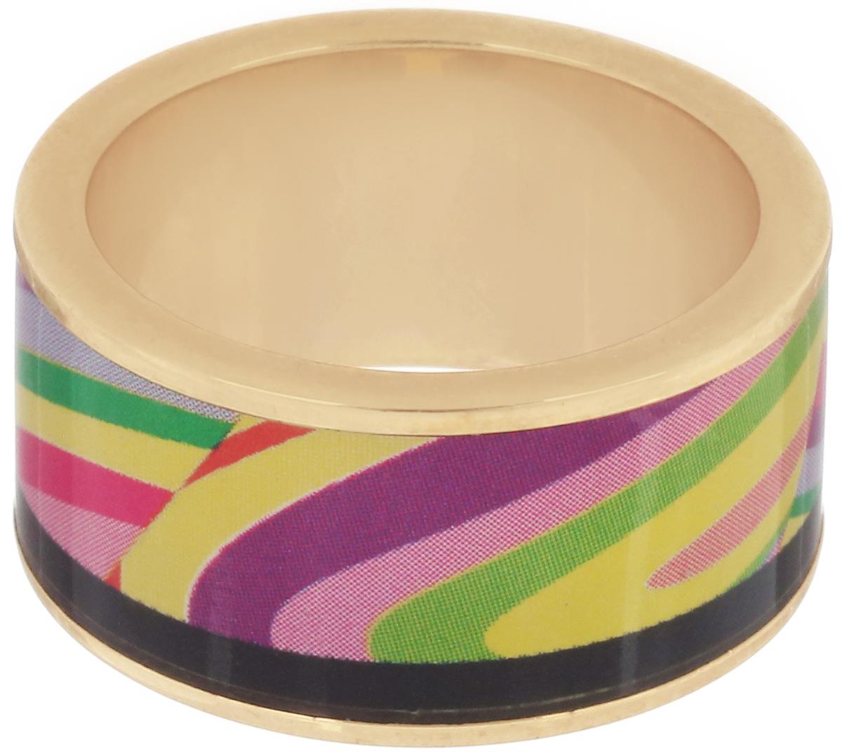 Кольцо Art-Silver, цвет: золотистый, мультиколор. ФК126-320. Размер 17,5ФК126-320Великолепное кольцо Art-Silver изготовлено из бижутерного сплава и покрыто золотом 0,01 мкрн. Изделие оформлено оригинальным геометрическим орнаментом выполненным из эмали. Стильное кольцо придаст вашему образу изюминку и подчеркнет индивидуальность.