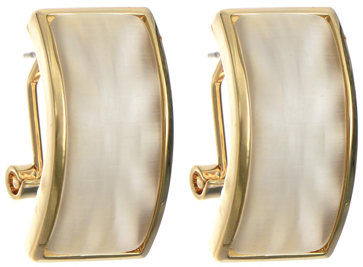Серьги Art-Silver, цвет: золотистый. 03721-62103721-621Оригинальные серьги Art-Silver, выполнены из бижутерного сплава с покрытием под золото. В качестве основы украшения использован итальянский замок. Декоративный элемент изделия дополнен кошачим глазом. Стильные серьги придадут вашему образу изюминку, подчеркнут красоту и изящество вечернего платья или преобразят повседневный наряд.