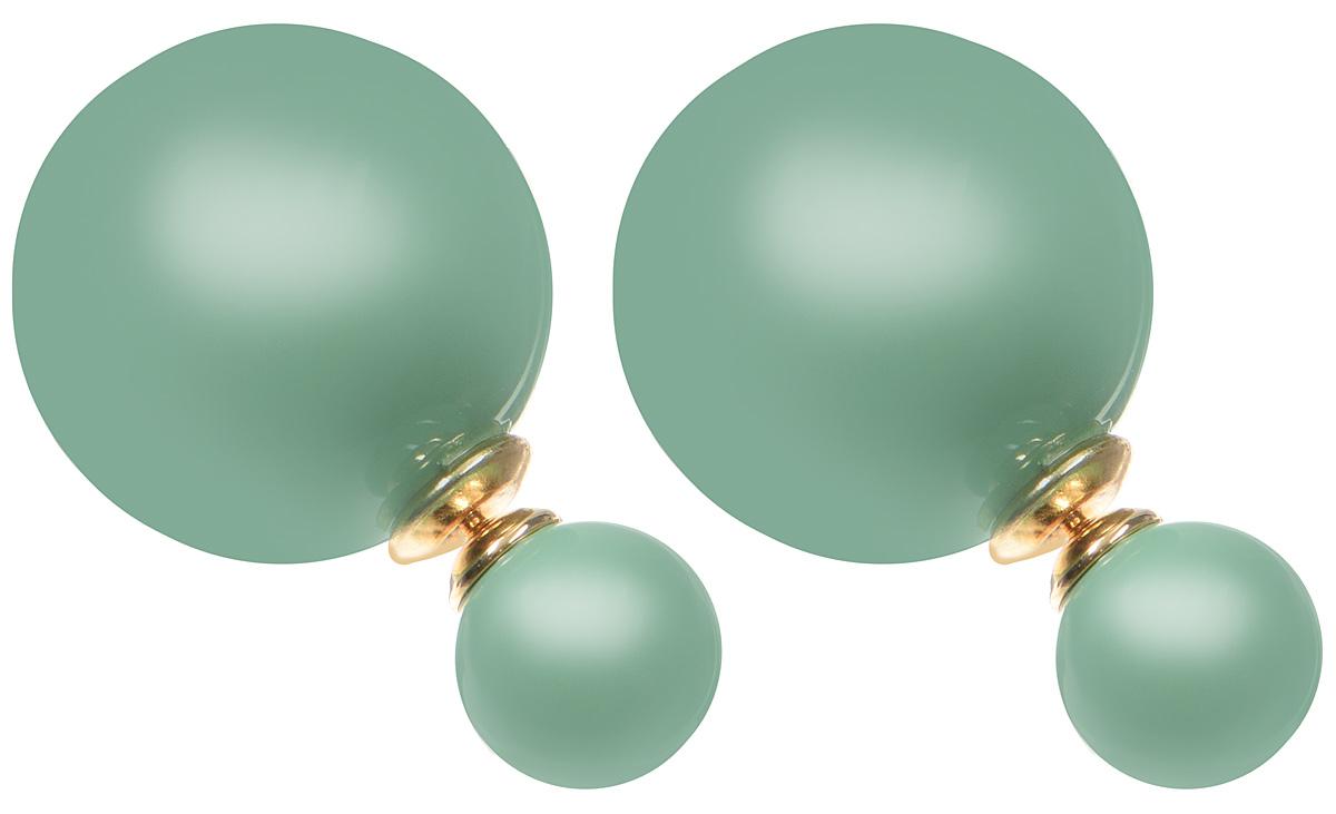Серьги-шары Art-Silver, цвет: золотой, зеленый. 29237-3-231