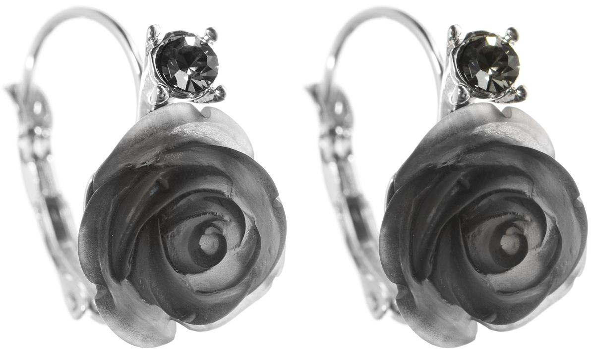 Серьги Art-Silver, цвет: серебристый, черный. 032322-001-293032322-001-293Оригинальные серьги Art-Silver, выполнены из бижутерного сплава. Изделие выполнено в виде бутона розы из пластика. Верх украшения декорировано элементом дополненным кубическим цирконием. В качестве основы украшения использован замок-петля. Стильные серьги придадут вашему образу изюминку, подчеркнут красоту и изящество вечернего платья или преобразят повседневный наряд.