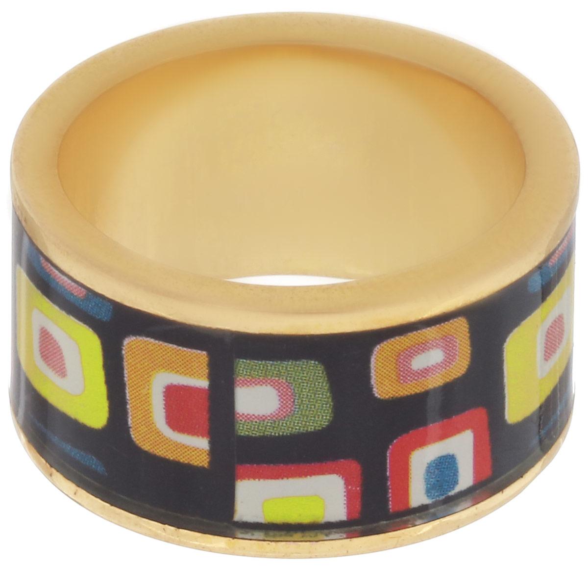 Кольцо Art-Silver, цвет: золотой, черный, мультиколор. ФК105-320. Размер 16,5ФК105-320Великолепное кольцо Art-Silver изготовлено из бижутерного сплава и покрыто золотом 0,01 мкрн. Изделие оформлено оригинальным геометрическим орнаментом выполненным из эмали. Стильное кольцо придаст вашему образу изюминку и подчеркнет индивидуальность.