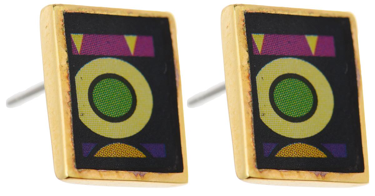 Серьги Art-Silver, цвет: золотой, черный, зеленый. ФСм206-420ФСм206-420Оригинальные серьги Art-Silver, выполнены из бижутерного сплава с покрытием под золото. В качестве основы украшения использован замок-гвоздик с фиксатором из металла. Серьги дополнены оригинальным принтом. Стильные серьги придадут вашему образу изюминку, подчеркнут красоту и изящество вечернего платья или преобразят повседневный наряд.