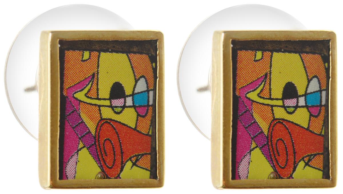 Серьги Art-Silver, цвет: золотой, оранжевый, красный. ФСм205-420ФСм205-420Оригинальные серьги Art-Silver выполнены из бижутерного сплава с покрытием под золото. В качестве основы украшения использован замок-гвоздик с фиксатором из металла и пластика. Изделие оформлено оригинальным принтом и покрыто эмалью. Изысканные серьги станут модным аксессуаром для повседневного наряда, они подчеркнет вашу индивидуальность и неповторимый стиль и помогут создать незабываемый уникальный образ.