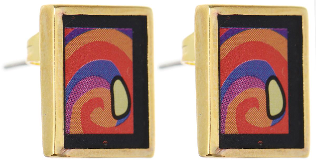 Серьги Art-Silver, цвет: золотистый, черный, оранжевый. ФСм201-420ФСм201-420Оригинальные серьги Art-Silver, выполнены из бижутерного сплава с покрытием под золото. В качестве основы украшения использован замок-гвоздик с фиксатором из металла. Серьги дополнены оригинальным принтом. Стильные серьги придадут вашему образу изюминку, подчеркнут красоту и изящество вечернего платья или преобразят повседневный наряд.