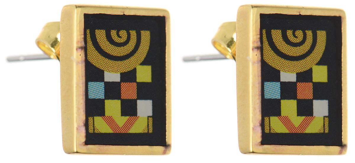 Серьги Art-Silver, цвет: золотой, черный, желтый. ФСм202-420ФСм202-420Оригинальные серьги Art-Silver, выполнены из бижутерного сплава с покрытием под золото. В качестве основы украшения использован замок-гвоздик с фиксатором из металла. Серьги дополнены оригинальным принтом. Стильные серьги придадут вашему образу изюминку, подчеркнут красоту и изящество вечернего платья или преобразят повседневный наряд.