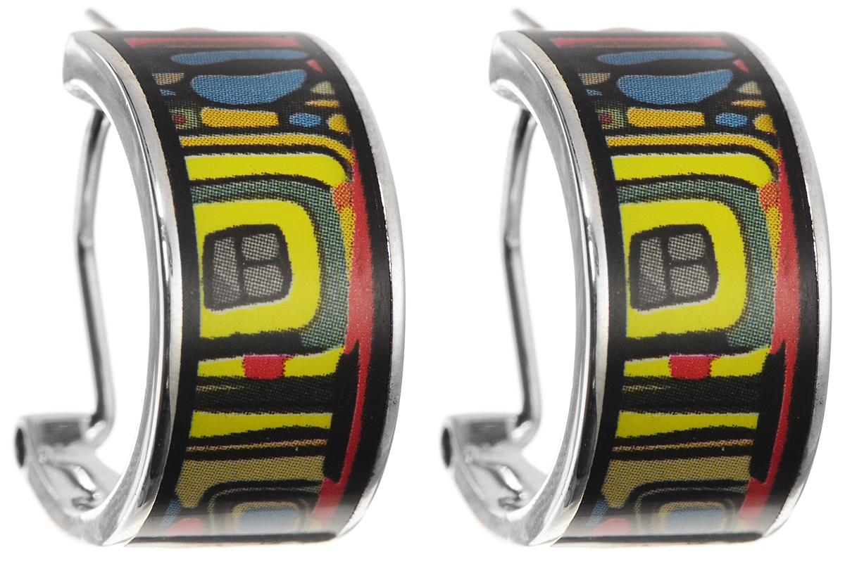 Серьги Art-Silver, цвет: серебристый, черный, желтый. ФС103-420ФС103-420Оригинальные серьги Art-Silver, выполнены из бижутерного сплава. Изделие застегивается на удобный итальянский замок. Изделие оформлено оригинальным принтом и покрыто эмалью. Изысканные серьги станут модным аксессуаром как для повседневного наряда, они подчеркнет вашу индивидуальность и неповторимый стиль, и помогут создать незабываемый уникальный образ.