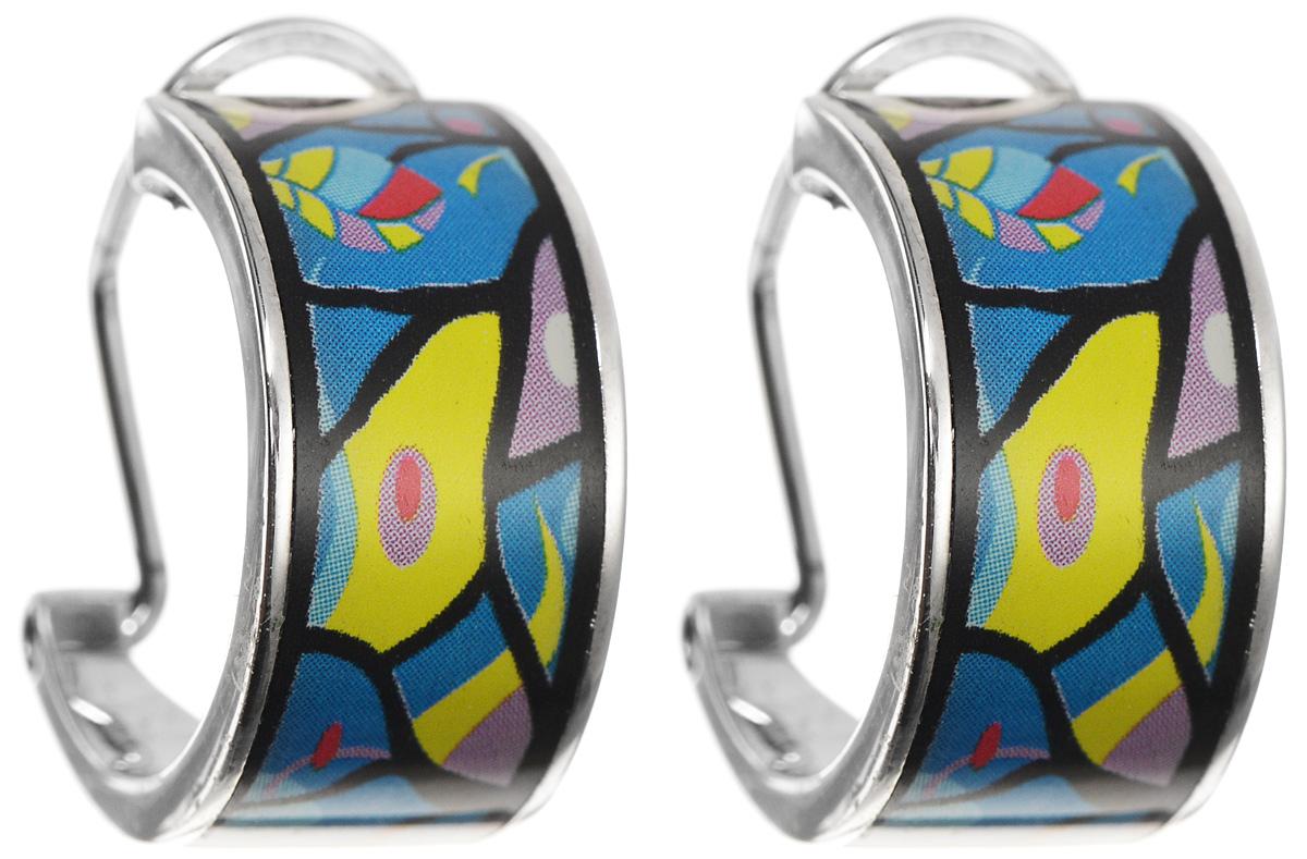 Серьги Art-Silver, цвет: серебристый, голубой, желтый. ФС117-420ФС117-420Оригинальные серьги Art-Silver, выполнены из бижутерного сплава. Изделие застегивается на удобный итальянский замок. Изделие оформлено оригинальным принтом и покрыто эмалью. Изысканные серьги станут модным аксессуаром как для повседневного наряда, они подчеркнет вашу индивидуальность и неповторимый стиль, и помогут создать незабываемый уникальный образ.