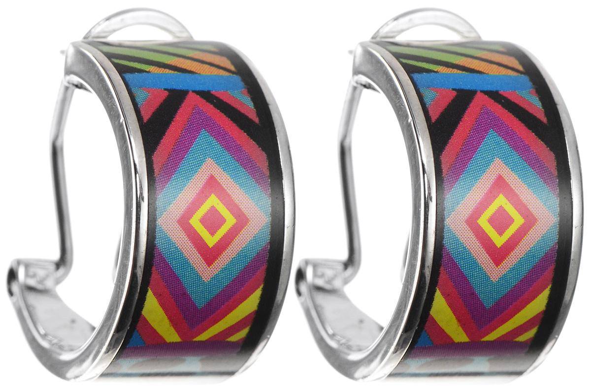 Серьги Art-Silver, цвет: серебристый, черный, оранжевый. ФС101-420ФС101-420Оригинальные серьги Art-Silver, выполнены из бижутерного сплава. Изделие застегивается на удобный итальянский замок. Изделие оформлено оригинальным принтом, покрыто эмалью. Изысканные серьги станут модным аксессуаром как для повседневного наряда, они подчеркнет вашу индивидуальность и неповторимый стиль, и помогут создать незабываемый уникальный образ.