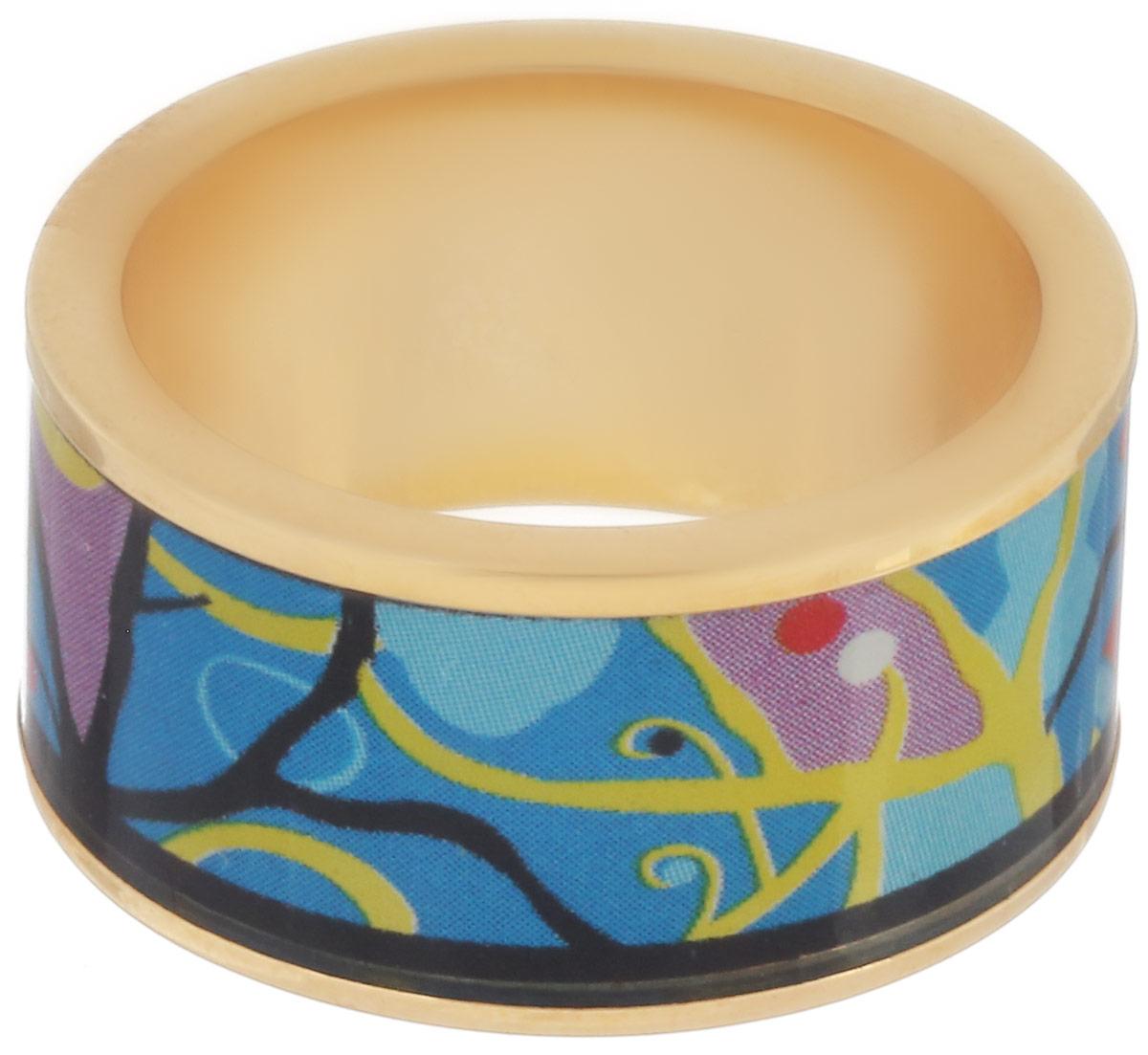 Кольцо Art-Silver, цвет: золотой, черный, голубой. ФК109-320. Размер 17,5ФК109-320Стильное кольцо Art-Silver изготовлено из бижутерного сплава с покрытием под золото. Изделие оформлено оригинальным принтом и покрыто эмалью. Стильное кольцо придаст вашему образу изюминку и подчеркнет индивидуальность.