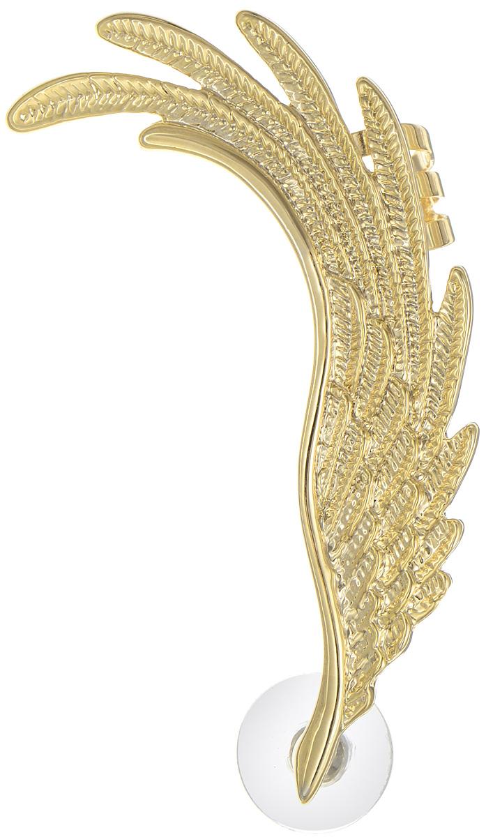 Серьга-кафф Art-Silver, цвет: золотой. D34829-02A1-432D34829-02A1-432Оригинальная серьга-кафф Art-Silver, выполнены из бижутерного сплава с покрытием под золото. Украшение выполнено в виде крыла птицы. В качестве основы украшения использован замок-гвоздик с фиксатором из пластика и металла, а также дополнительный фиксатор для уха. Украшение выполнено в форме изгиба женского ушка (надевается на левое ухо). Стильная серьга- кафф придаст вашему образу изюминку и подчеркнет индивидуальность вашего стиля.