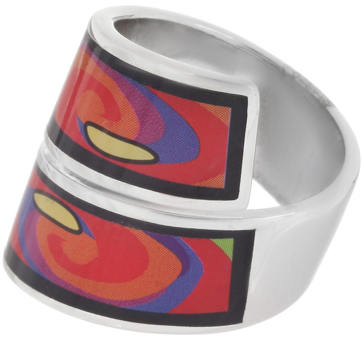Кольцо Art-Silver, цвет: серебристый, черный, оранжевый. ФК135-1-320. Размер 18ФК135-1-320Стильное кольцо Art-Silver изготовлено из бижутерного сплава. Кольцо имеет спиралевидную форму, оформлено оригинальным принтом и покрыто эмалью. Такое кольцо придаст вашему образу изюминку и подчеркнет индивидуальность.