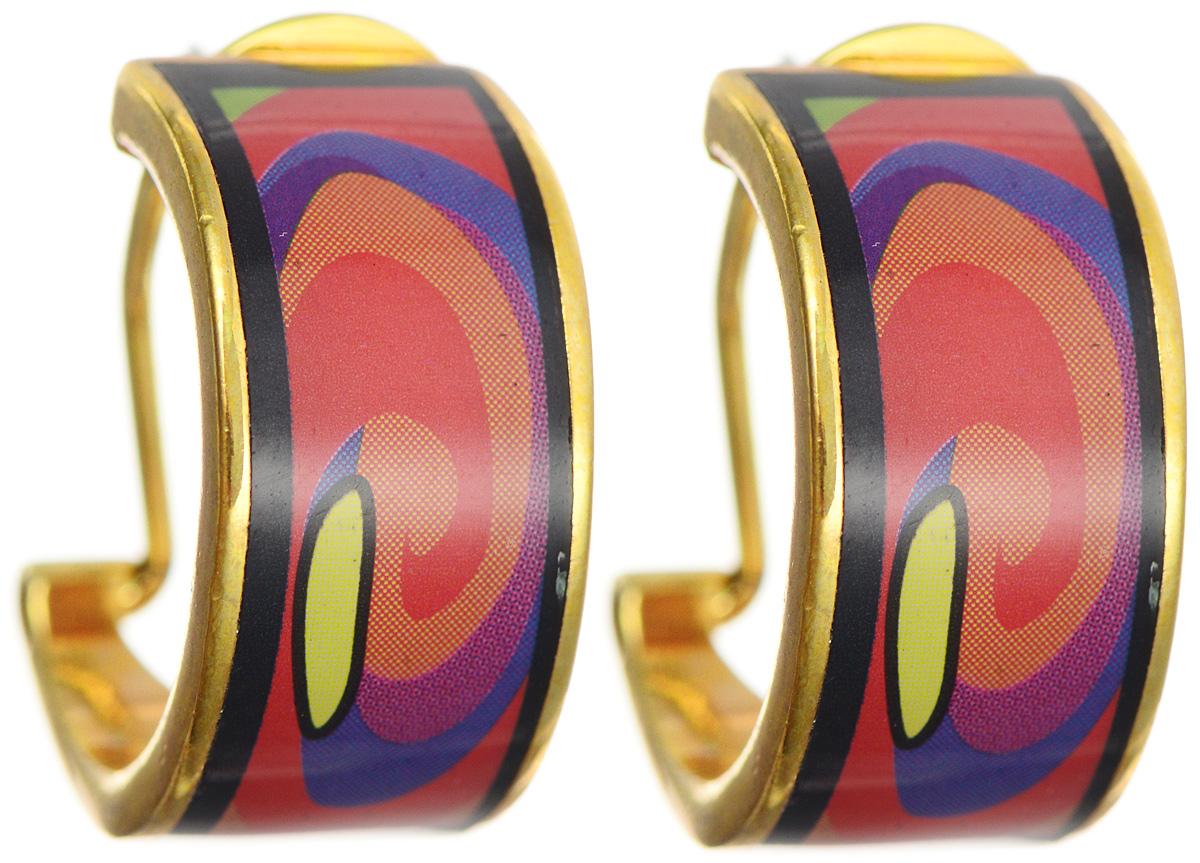 Серьги Art-Silver, цвет: золотой, черный, оранжевый. ФС111-1-420ФС111-1-420Оригинальные серьги Art-Silver выполнены из бижутерного сплава с покрытием под золото. Изделие застегивается на итальянский замок, который эстетично включается в дизайн украшения. Изделие оформлено оригинальным принтом, покрыто эмалью. Изысканные серьги станут модным аксессуаром для повседневного наряда, они подчеркнет вашу индивидуальность и неповторимый стиль и помогут создать незабываемый уникальный образ.