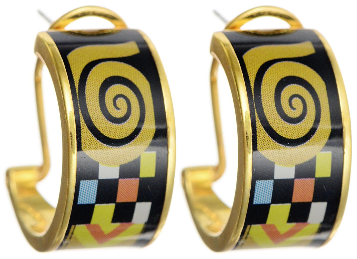 Серьги Art-Silver, цвет: золотой, черный, желтый. ФС106-1-420ФС106-1-420Оригинальные серьги Art-Silver выполнены из бижутерного сплава с покрытием под золото. Изделие застегивается на итальянский замок, который эстетично включается в дизайн украшения. Изделие оформлено оригинальным принтом, покрыто эмалью. Изысканные серьги станут модным аксессуаром для повседневного наряда, они подчеркнет вашу индивидуальность и неповторимый стиль и помогут создать незабываемый уникальный образ.
