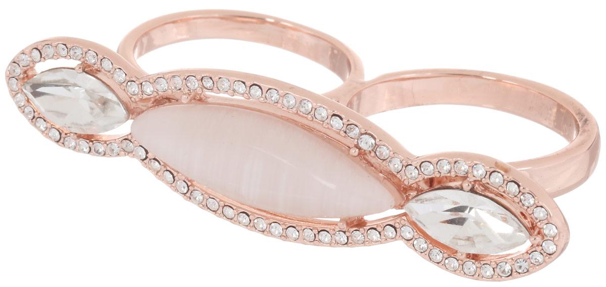 Кольцо на два пальца Art-Silver, цвет: золотистый. 066593-801-1202. Размер 19,5066593-801-1202Великолепное кольцо на два пальца Art-Silver изготовлено из бижутерного сплава с покрытием из золота 0,01 мкрн. Изделие надевается на два средний пальца и дополнено цирконами и натуральным камнем кошачий глаз. Стильное кольцо придаст вашему образу изюминку и подчеркнет индивидуальность.