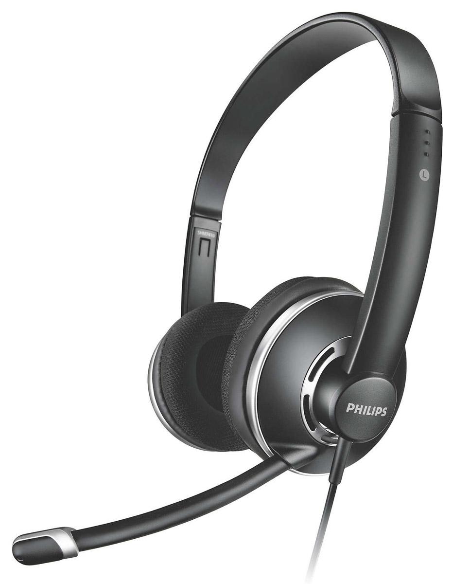 Philips SHM7410U компьютерная гарнитураSHM7410U/10Гарнитура для ПК Philips SHM7410 передает четкий голос и кристально чистый звук, она оснащена микрофоном с шумоподавлением, удобными мягкими амбушюрами и встроенным в кабель регулятором громкости с функцией отключения звука. Благодаря адаптеру 2 в 1 можно легко переключаться между ПК и ноутбуком. Уникальная регулируемая по высоте конструкция оголовья гарантирует комфортную посадку и удобство при длительном ношении. Удобный регулируемый держатель гарантирует оптимальное положение микрофона для качественной передачи голоса. Настроенная акустическая система и высококачественные излучатели обеспечивают лучшие в своем классе характеристики звучания. Микрофон с шумоподавлением отсекает фоновый шум для комфорта при разговоре. Регулируемый микрофон рассчитан на устранение фоновых шумов и четкую передачу голоса. Эта гарнитура также совместима со смартфонами, планшетами и ноутбуками. Чувствительность микрофона: - 42 дБ Диапазон частот микрофона:...