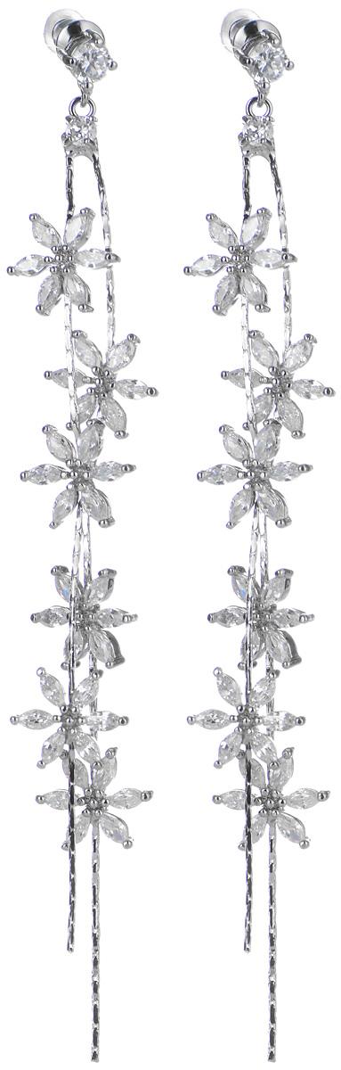 Серьги Art-Silver, цвет: серебряный. 1838-19501838-1950Элегантные серьги Art-Silver, выполненные из бижутерийного сплава, с легкостью завершат ваш образ. Серьги дополнены оригинальными подвесками, инкрустированными цирконами. В качестве основы украшения использован замок-гвоздик с заглушками. Серьги современного дизайна придадут вашему образу изюминку, подчеркнут красоту и изящество вечернего платья или преобразят повседневный наряд.