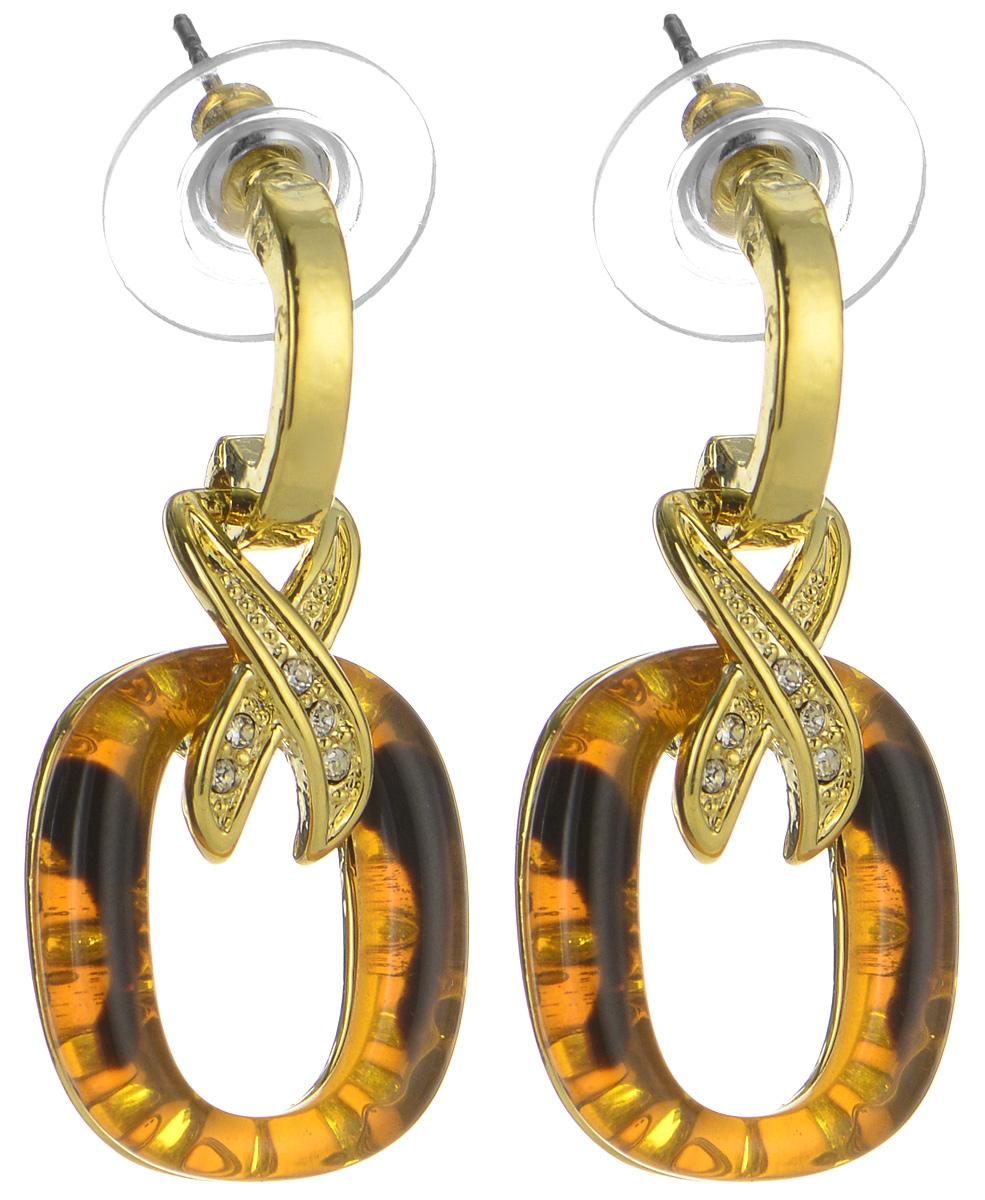 Серьги Art-Silver, цвет: золотой, коричневый. MS06197E-G-A-595MS06197E-G-A-595Элегантные серьги Art-Silver, выполненные из бижутерийного сплава и полимерного материала, с легкостью завершат ваш образ. Серьги дополнены оригинальными подвесками с цирконами и искусственными камнями, имитирующими янтарь. В качестве основы украшения использован замок-гвоздик с заглушками. Серьги современного дизайна придадут вашему образу изюминку, подчеркнут красоту и изящество вечернего платья или преобразят повседневный наряд.