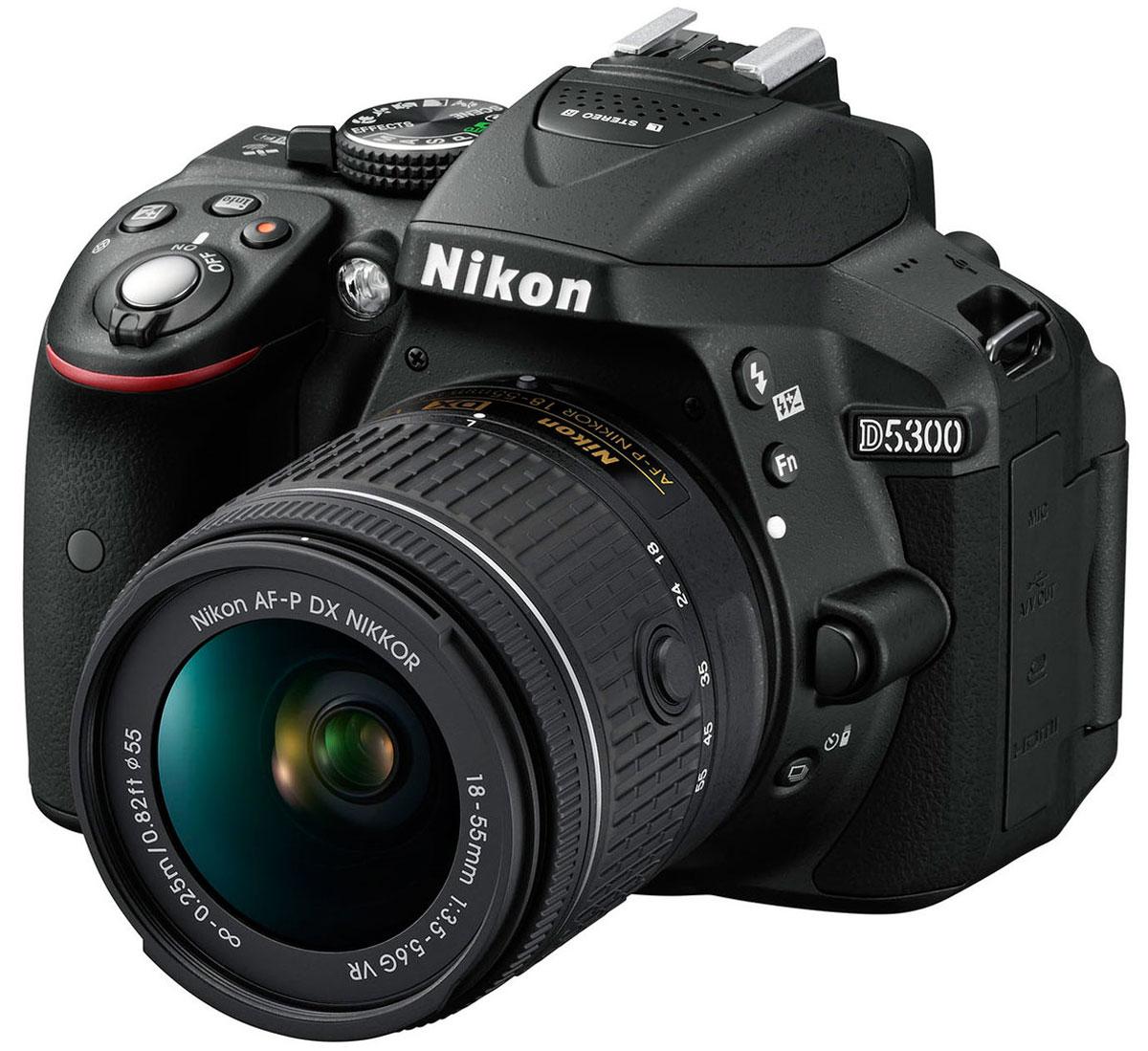 Nikon D5300 Kit 18-55 VR, Black цифровая зеркальная камераVBA370K00724,2-мегапиксельная фотокамера Nikon D5300 формата DX, оснащенная встроенными модулями Wi-Fi и GPS, позволяет создавать невероятно четкие изображения, отражающие уникальное видение фотографа, и обмениваться ими с другими. Великолепное качество изображения: Высокая чувствительность ISO (до 12 800 единиц ISO с возможностью расширения до эквивалента 25 600 единиц ISO) в сочетании с мощной системой обработки изображений EXPEED 4 от компании Nikon позволяют получать исключительно четкие фотографии и видеоролики при съемке в условиях недостаточного освещения. Удивительно точный 2016-пиксельный датчик RGB для замера экспозиции передает данные системе распознавания сюжетов, которая автоматически задает оптимальную экспозицию, автофокусировку и баланс белого для получения снимков высочайшего качества. Мимолетные движения, изменяющиеся выражения лиц - все эти мгновения можно уловить благодаря высокой скорости работы в режиме непрерывной съемки (до 5 кадров в...