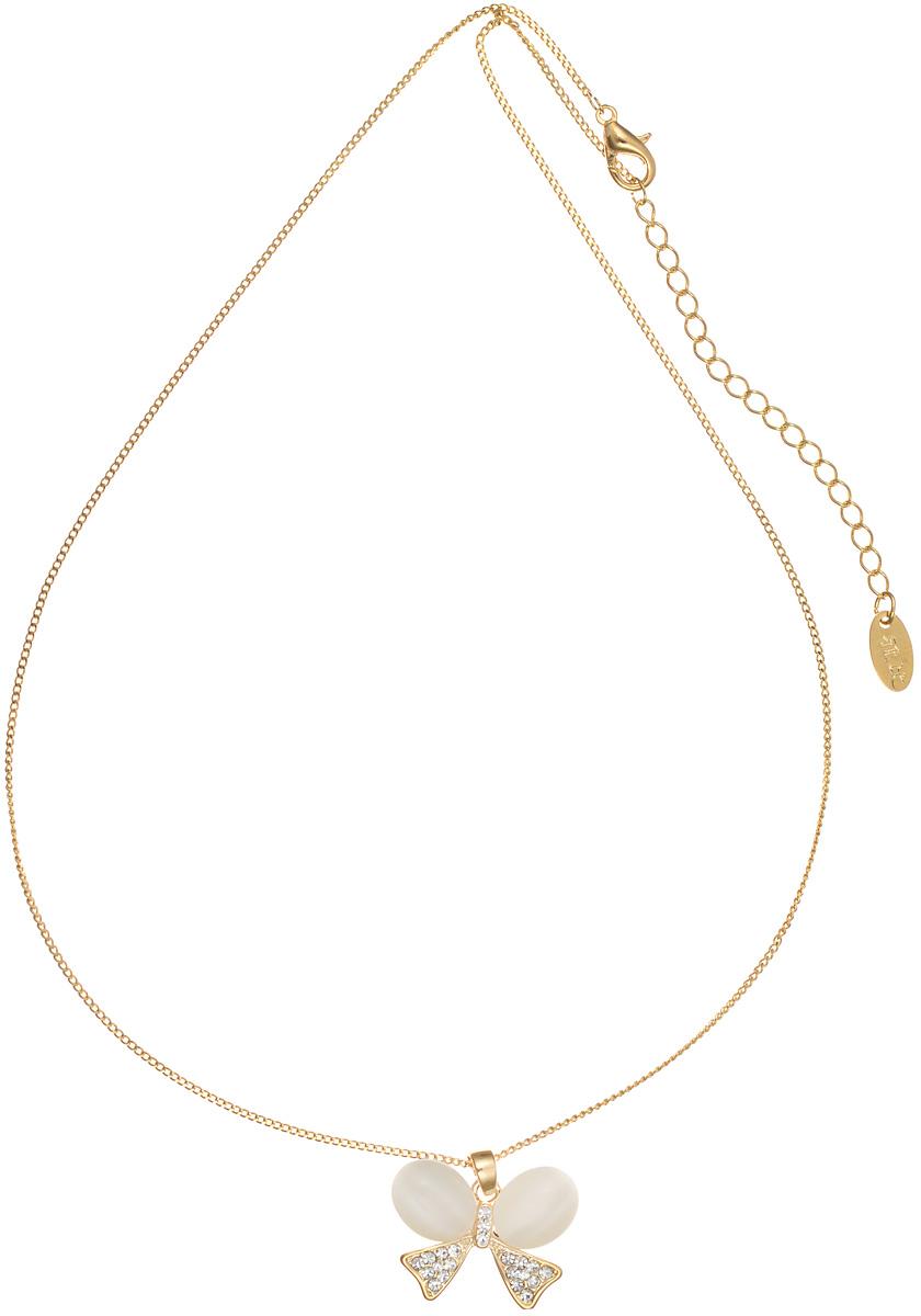 Кулон Art-Silver, цвет: золотой, белый. Е14159-З-608Е14159-З-608Элегантный кулон Art-Silver выполнен из бижутерийного сплава с позолотой и дополнен изящной цепочкой. Кулон выполнен в виде бантика, который оформлен полудрагоценными камнями. Изделие застегивается на замок-карабин, длина регулируется. Оригинальный кулон придаст вашему образу изюминку и преобразит повседневный наряд.