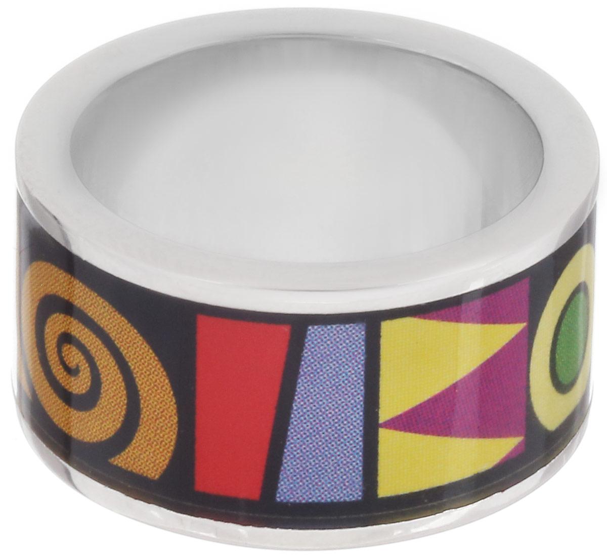 Кольцо Art-Silver, цвет: серебристый, черный, мультиколор. ФК104-1-320. Размер 17,5ФК104-1-320Стильное кольцо Art-Silver изготовлено из бижутерного сплава. Изделие оформлено оригинальным принтом и покрыто эмалью. Стильное кольцо придаст вашему образу изюминку и подчеркнет индивидуальность.