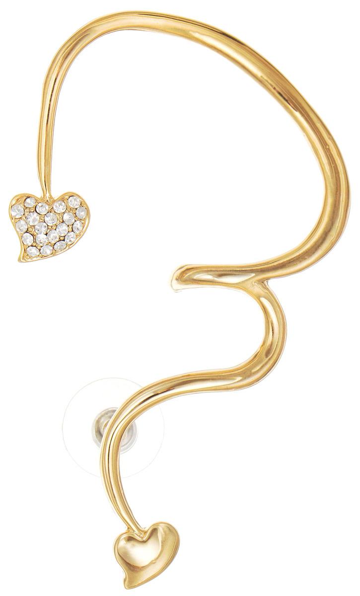 Серьга-кафф Art-Silver, цвет: золотой. D34826-02A-581D34826-02A-581Элегантная серьга-кафф Art-Silver изготовлена из бижутерного сплава с покрытием под золото. Изделие имеет изящную форму, на концах декорировано небольшими сердечками и дополнено цирконами. Застегивается серьга при помощи замка-гвоздика с удобной пластиковой заглушкой. Украшение выполнено в форме изгиба женского ушка (надевается на левое ухо). Стильная серьга-кафф придаст вашему образу изюминку и подчеркнет индивидуальность вашего стиля.