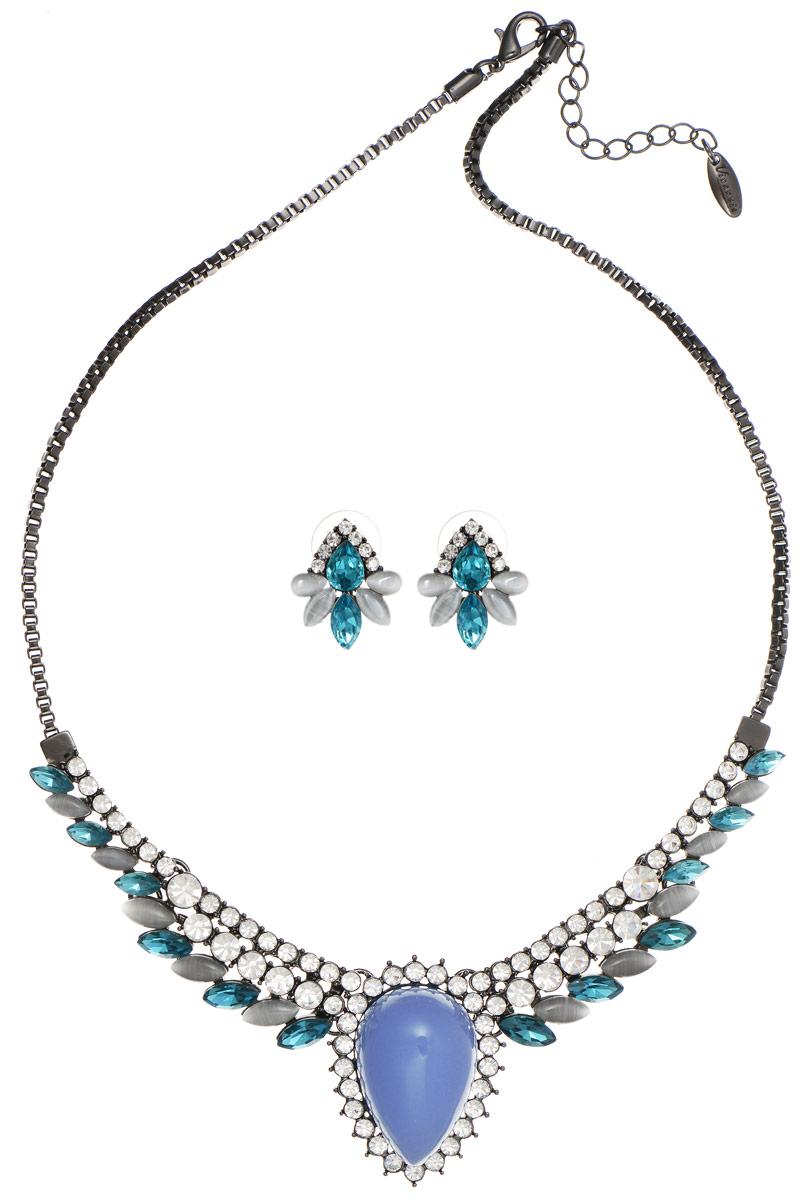 Комплект Art-Silver: колье, серьги, цвет: черный, голубой. 064702-4280
