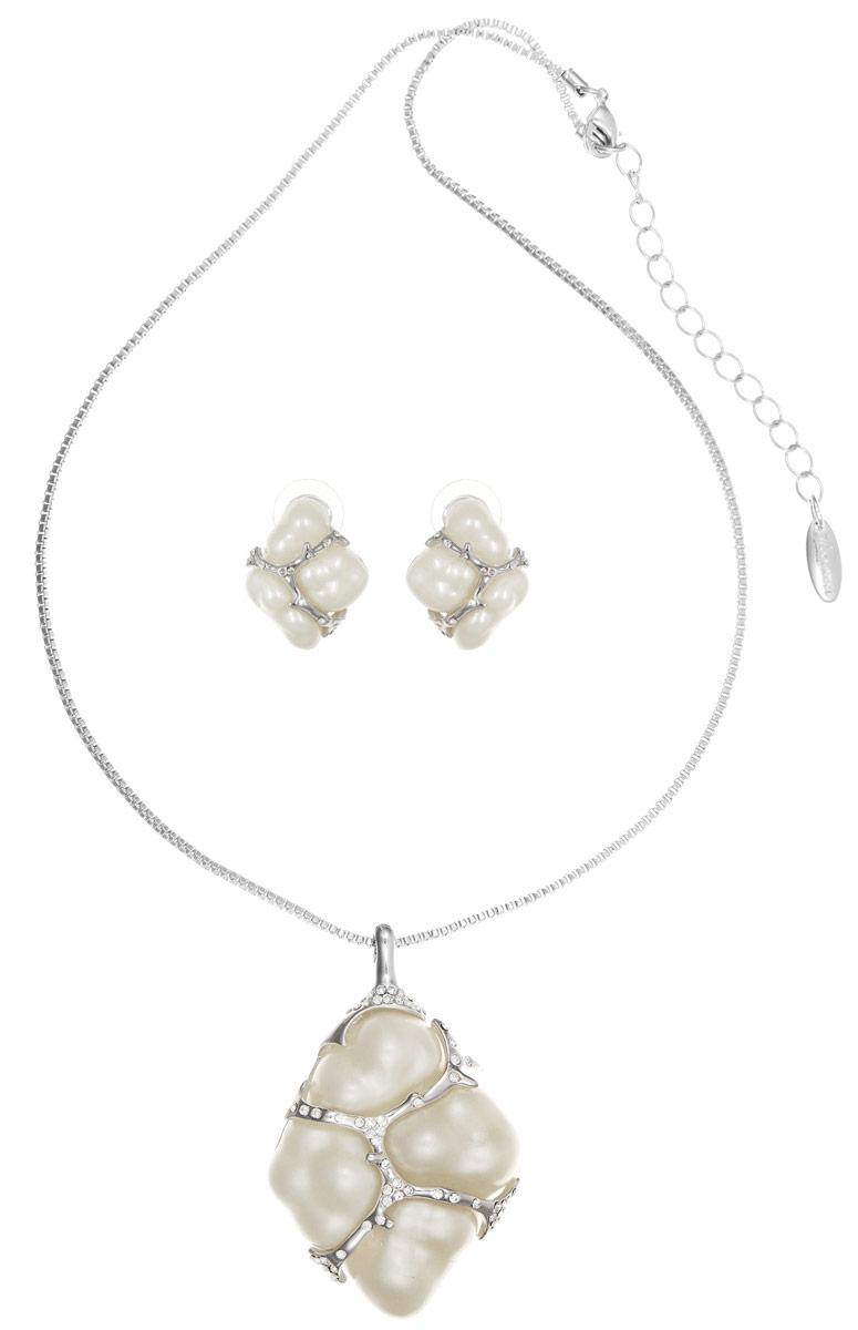 Комплект Art-Silver: колье, серьги, цвет: серебряный, белый. V063092-001-2147